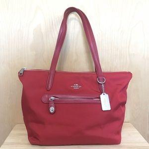 COACH red Gallery Tote zip top nylon shoulder bag